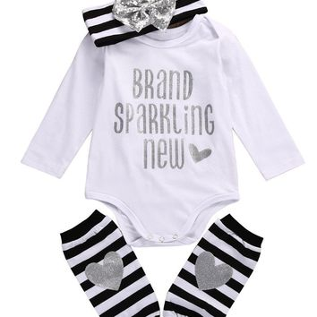 Adorable Baby Girl Sequin Christmas Romper+ Stripe Leg Warmer+ Headband Outfits baby Grils  set newborn