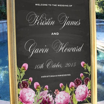 Chalkboard Watercolor Floral Welcome Wedding Sign Customized Hashtag Wedding Date Digital Printable Welcome Banner Wedding Decor Decoration