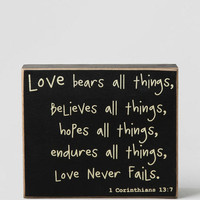 Love Bears All Things Box Sign