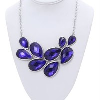 Large Teardrop Stone Statement Necklace