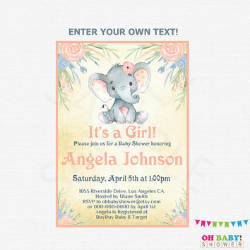 Elephant Baby Shower Invitation Girl Pink Elephant Invites, Little Peanut Baby Shower Invitation, Watercolor Baby Shower, Editable PDF ELWP