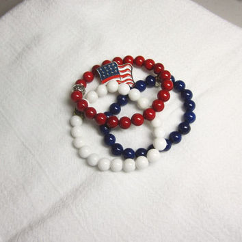 Patriotic Set of 3 Bracelets Stacking Stretch Bracelets Trio Red White and Blue July 4th of July