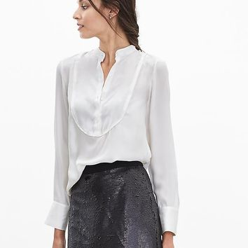 Banana Republic Womens Monogram Silk Tux Shirt