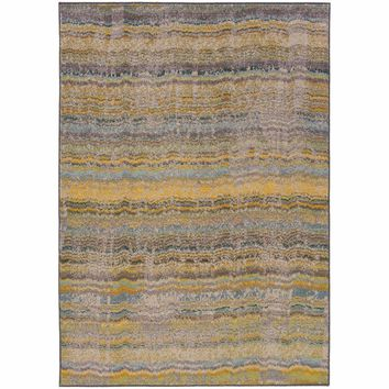 Kaleidoscope Yellow Grey Abstract Distressed Transitional Rug