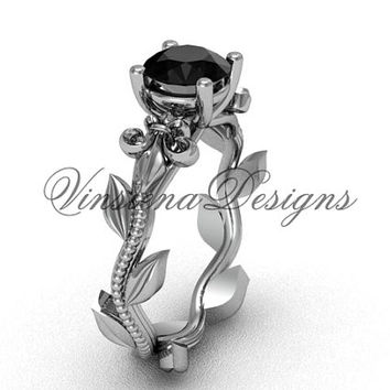 14kt white gold leaf and vine, Fleur de Lis, Black Diamond engagement ring VD208223