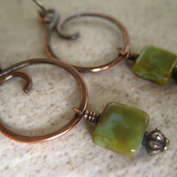 Copper Hoop Earrings Green Czech Glass Hammered Copper Jewelry