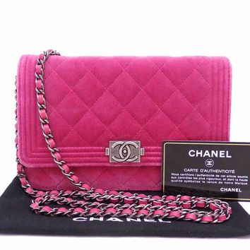 Auth CHANEL Boy Chanel Wallet on Chain Shoulder Bag Fuchsia Pink Velour - e30401