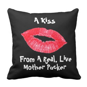 Kiss Lips Black Red Lipstick Mother Pucker Pillow