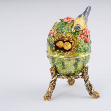 Bird Nest Faberge Egg with a Perl on Top Handmade Trinket Box by Keren Kopal Decorated with Swarovski Crystals