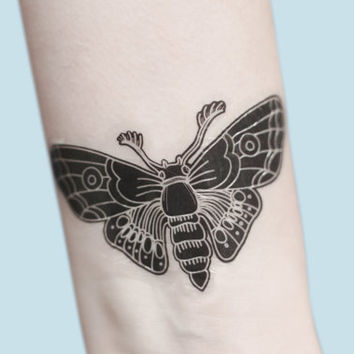 Moth Temporary Tattoo, Modern Art, Hipster Temporary Tattoo, Large Temporary Tattoo, Gift For Her, Gothic Art, Festival Wear, Gift Idea