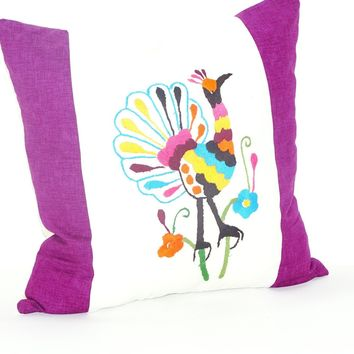 Bohemian Pillows, Otomi cushion cover, Mexican pillow cover in white and purple