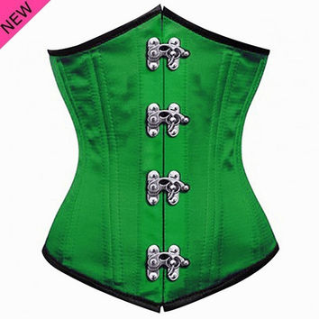 24 Spiral Steel Boned Underwear Waist Training Corset Steampunk Clothing New Women Corselet Green Purple Blue Black Bustiers = 1930313412