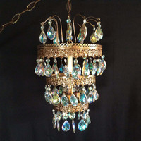 Mid Century Large Crystal 4 Tier Hanging Light Waterfall 70 Prisms Vintage