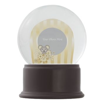 Cute Baby Koala Gold Stripes Personalized Photo Snow Globes