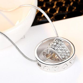 Silver Plated Austrian Crystal Luxury Brand Heart Necklaces & Pendants Fashion Jewelry for Women