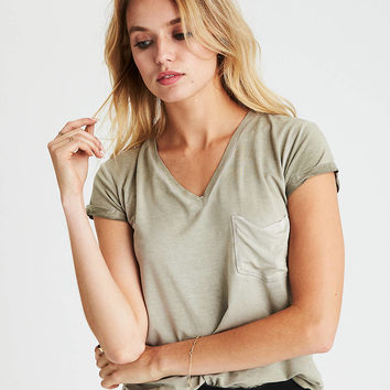 AEO Soft & Sexy V-Neck Favorite T-Shirt, Leaf Green