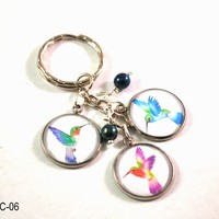 Hummingbird Key Chain, Key Ring with Colorful Hummingbird Charms