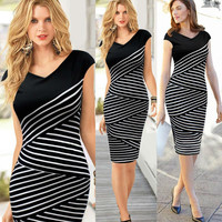 Vintage Spring Summer Women Black White Striped Tunic Fitted Office Business Wear to Work Sheath Shift Pencil Dress 760