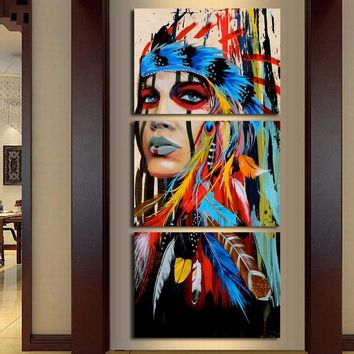Atfipan Art Painting Modern Wall Art Decor Canvas Print 3 Panel Beauty Native American Indian Girl Feathered Modular Pictures