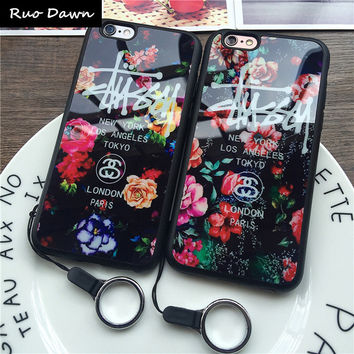 Ruo Dawn Roses Pattern Shell For iPhone 5 5S SE 6 6S Plus Top Quality Soft Silicone Thicker Phone Cases Lanyard Protection Cove
