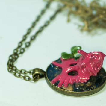 "Hand-made Pink Dinosaur Pendant Necklace | ""Truman the Triceratops"" 