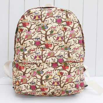 Canvas Cute Owl Lovely Korean Casual Cats Cartoons Backpack = 4887761988