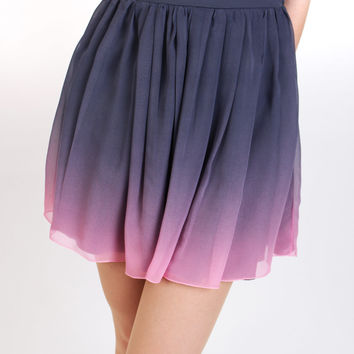 Charcoal Blush - ombre dress / gathered skirt dress