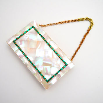 Fabulous Vintage Evans Wristlet, Mother of Pearl and Green Rhinestone Vanity Case, Makeup and Cigarette Case, c 1940s-1950s