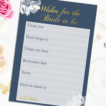 Wishes for the Bride Bridal Shower Game Printable Wedding Shower Game Wishes for the Bride Digital Instant Download