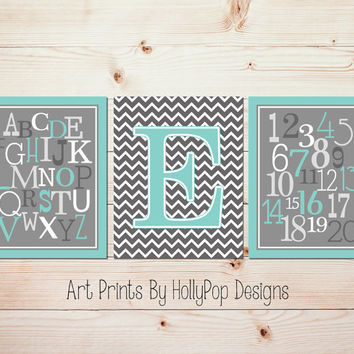 Boy Nursery Wall Art Alphabet Number Nursery Print Set Aqua Gray Nursery Artwork Set of 3 Nursery Art Prints Modern Gender Neutral Art #1241