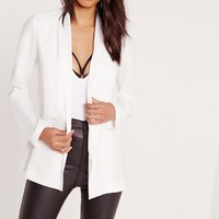 Missguided - Crepe Double Button Blazer White