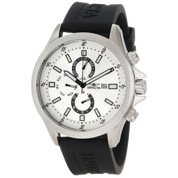 Invicta 1836 Men's Specialty Sports Silver Dial Black Rubber Strap GMT Watch