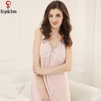 Princess Nightgowns Summer 2017 Sexy Lace V-Neck Nightdress Mini Sleeveless Sleeping Dress Casual Women Home Wear Sleepwear 716