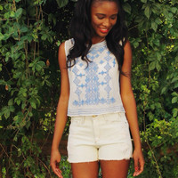 Chelsea Flower Embroidered Mesh Bluejay Crop Top