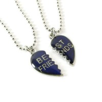 Best Friends, One Heart, Mood Friendship Pendants on Ball Chain Necklaces