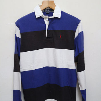 9bd81f8cf Vintage POLO RALPH LAUREN Polo Shirt Stripes Blue + Black + Whit