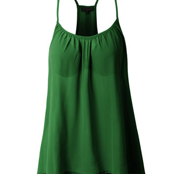LE3NO Womens Loose High Low Chiffon Racerback Tank Top (CLEARANCE)