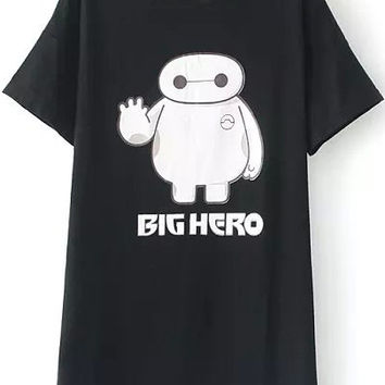 Cartoon Character Printed Shirt in Black