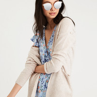 AE LACE BACK CARDIGAN, Oatmeal