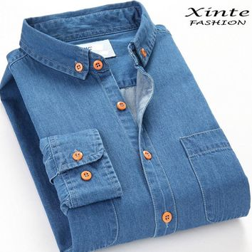 Two Front Pockets 2017 Spring Men Denim Shirt Long Sleeve Soft 100% Cotton Slim Jeans Cowboy 4XL Fast Shipping