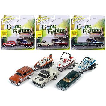 Gone Fishing 2017 Release 4B Set of 3 1:64 Diecast Model Cars