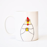 Chicken mug - coffee cup white 11oz rooster chicken yellow red vday Valentines Day