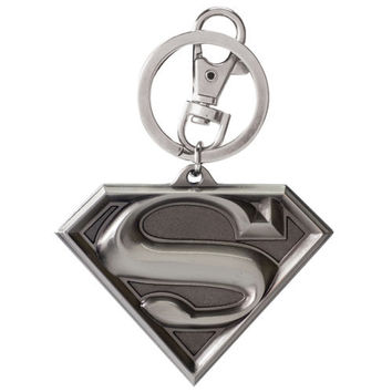 Superman Shield Logo Pewter Key Chain