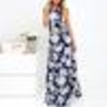Vintage Boho Long Maxi Evening Party Beach Dress Summer Women Dress Halter spaghetti Strap Bodycon Floral printed Sundress