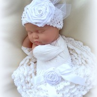 After the Christening o to 6 months Baby Girl Tutu and Headband Set