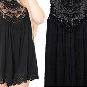 Sleeveless Lace Mini Sexy Hollow Out Skirt One Piece Dress [6339104577]