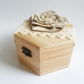 Wedding rings box, wedding pillow rustic cotton lace shabby chic brown cream lace sola flower big rings box