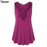 Summer Vintage Applisques Sleeveless Women Tunic Top Solid Tee Fold V-Neck Loose Knitted Female Tank Women Vest Tee Shirt
