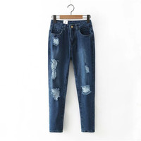 Summer Women's Fashion Korean Ripped Holes Denim Cropped Pants [4919997828]
