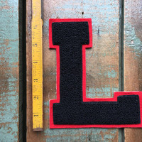 Vintage Letterman Patch, L Patch, Letterman Jacket Patch, Letterman Letter, Black And Red Letter